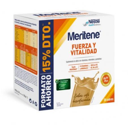 MERITENE FUERZA Y VITALIDAD CAFÉ DESCAFEINADO 30 SOBRES PACK AHORRO