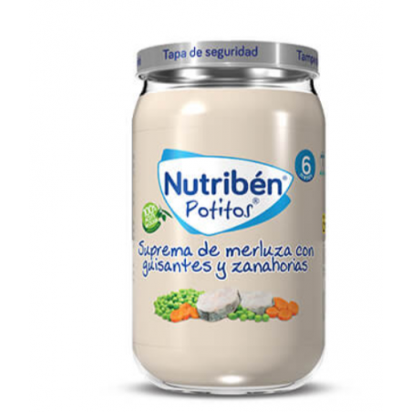 NUTRIBEN POTITOS SUPREMA DE MERLUZA GUISANTES Y ZANAHORIAS 235G