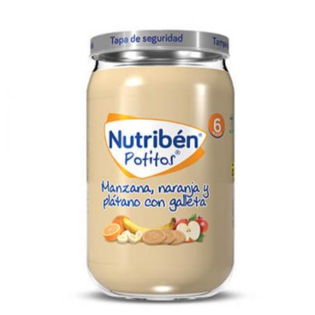 NUTRIBEN POTITOS MANZANA NARANJA Y PLÁTANO CON GALLETA 235G