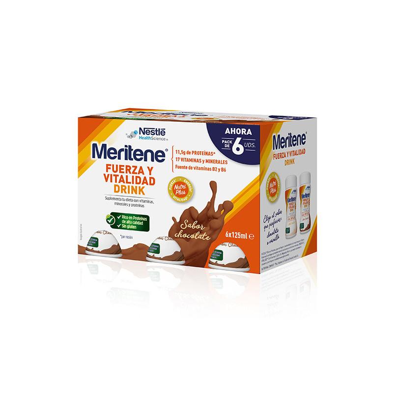 MERITENE DRINK FUERZA Y VITALIDAD CHOCOLATE 6 UNIDADES