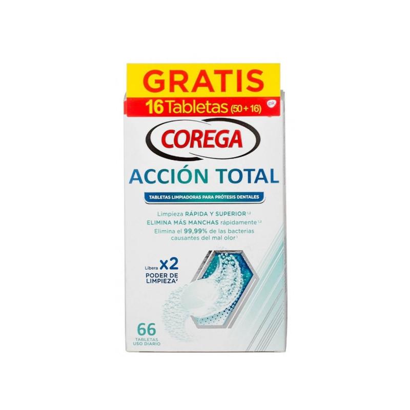 COREGA ACCIÓN TOTAL TABLETAS LIMPIADORAS PRÓTESIS 66 (50 + 16 GRATIS)