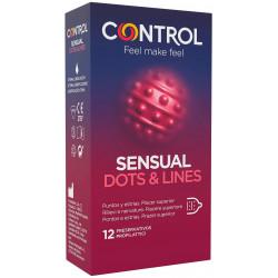 CONTROL PRESERVATIVOS SENSUAL DOTS & LINES TOUCH 12 U