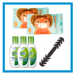 PACK COVID INFANTIL (MASCARILLA QUIRURGICA + GEL HIDROALCOHOLICO + SALVAOREJAS)