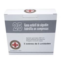 25 GASA ESTERIL DE ALGODÓN